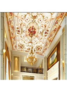 Floral Pattern Elegant Style Waterproof Durable and Eco-friendly 3D Ceiling Murals
