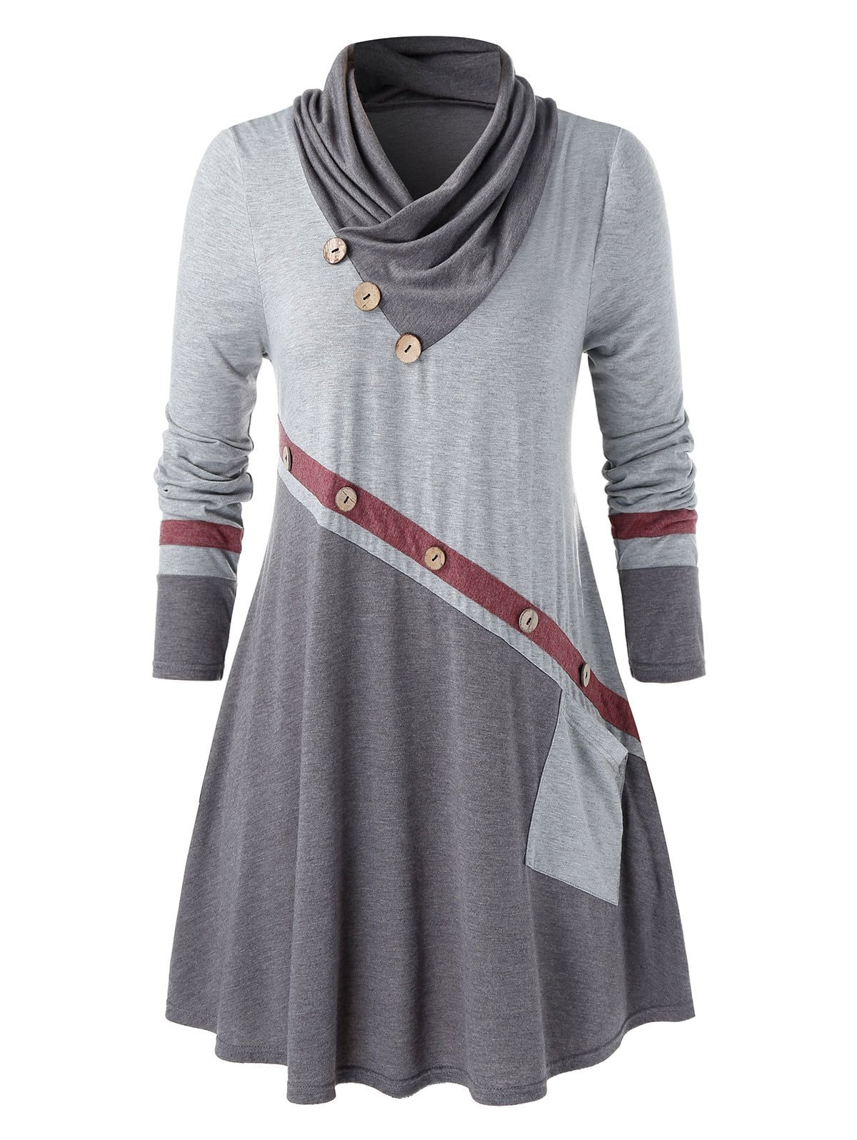 Plus Size Shawl Collar Buttons Contrast Color T Shirt