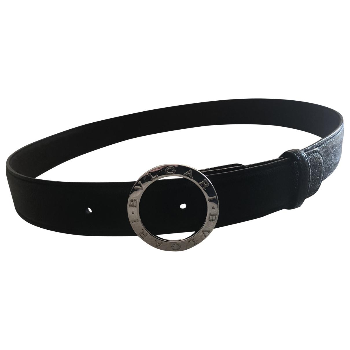 Bvlgari \N Black Leather belt for Men 90 cm