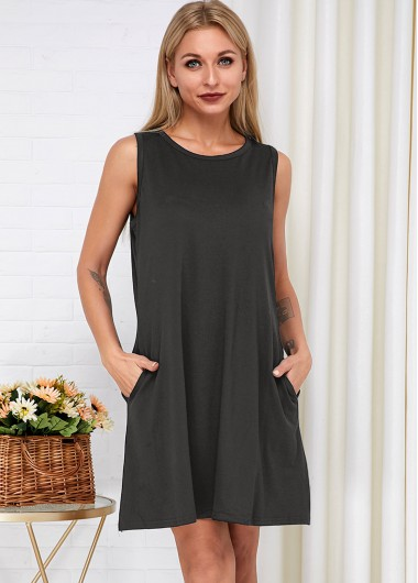 Cocktail Party Dress Round Neck Side Pocket Sleeveless Dress - L