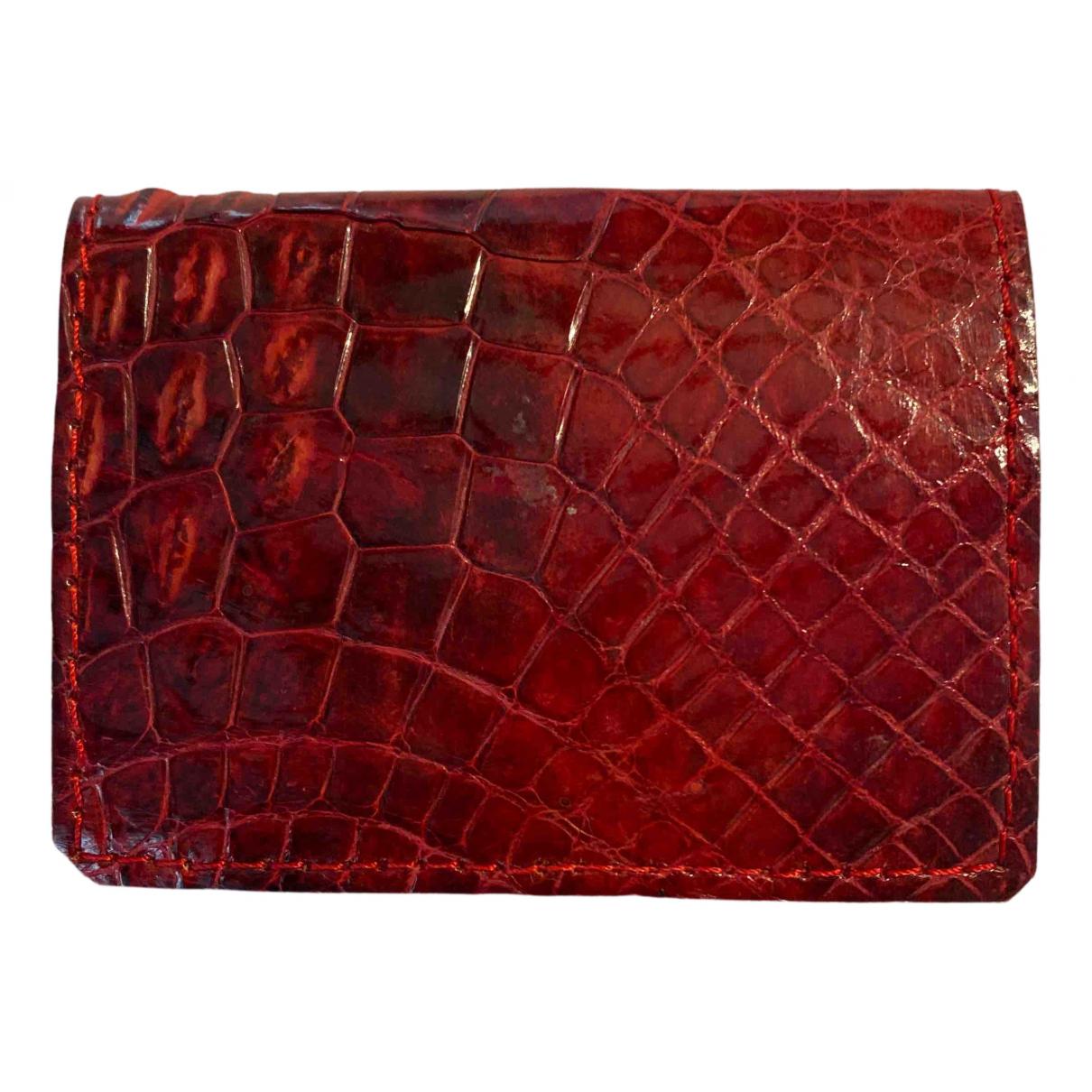- Portefeuille   pour femme en alligator - rouge