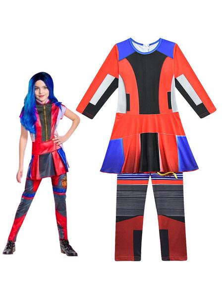 Milanoo Disfraz de niños Halloween Disney Descendientes 3 Evie Cosplay para niños Halloween