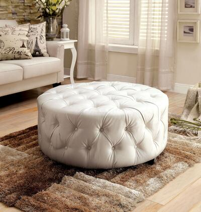 Latoya CM-AC6289WH Ottoman with Contemporary Style  Round Shape  Button Tufted Bonded Leather  Espresso Wooden Legs in