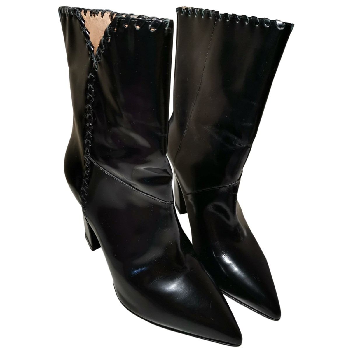 Twin Set - Boots   pour femme en cuir - noir