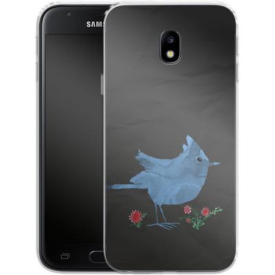 Samsung Galaxy J3 (2017) Silikon Handyhuelle - Watercolour Bird Black von caseable Designs