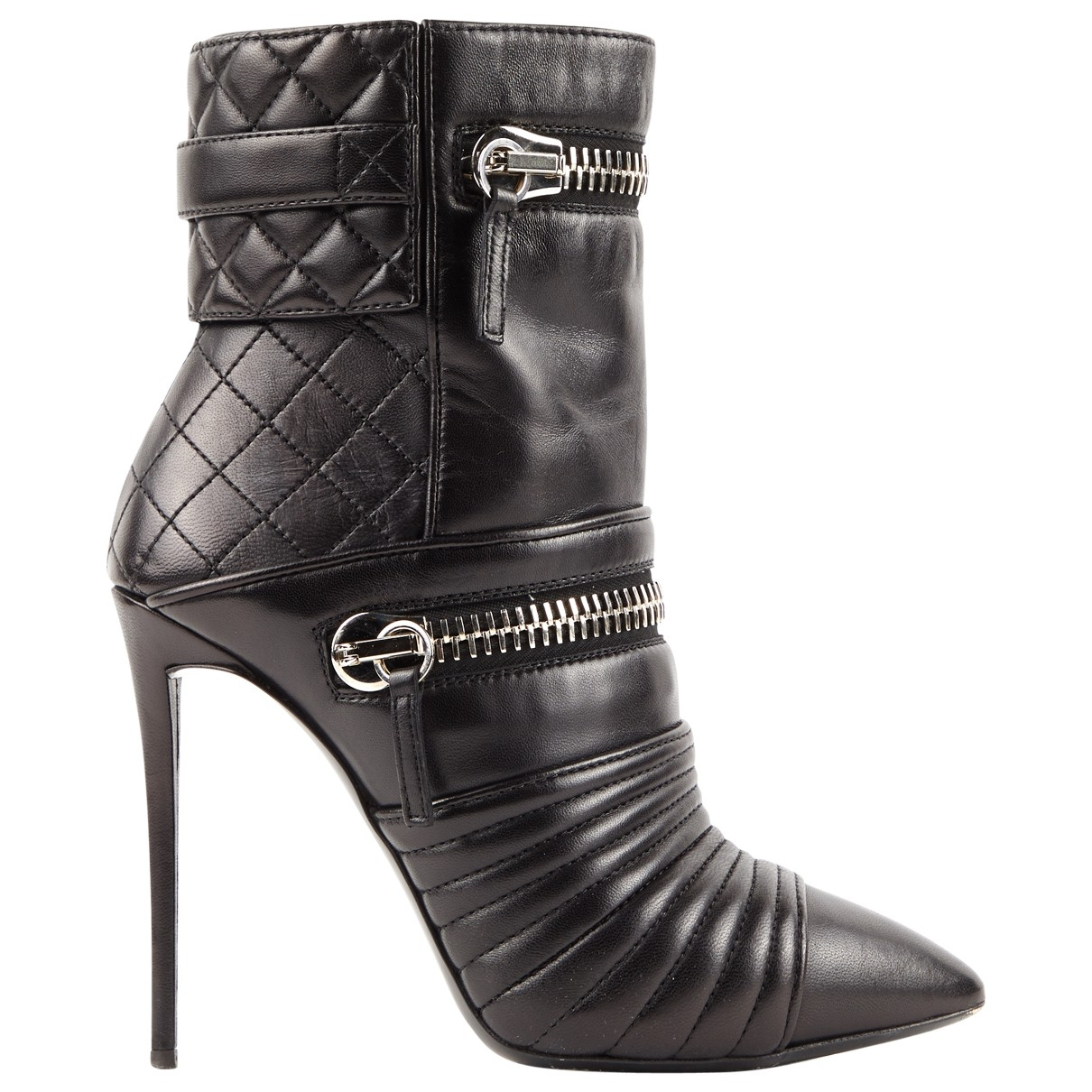 Giuseppe Zanotti \N Black Leather Ankle boots for Women 38.5 IT