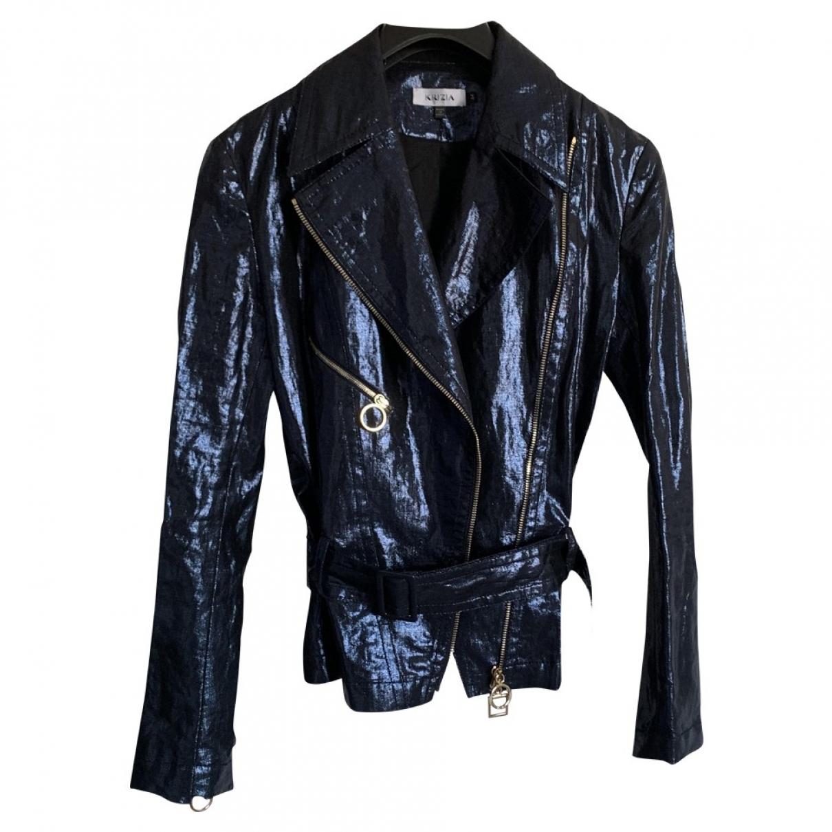 Krizia \N Blue Linen jacket for Women 44 IT