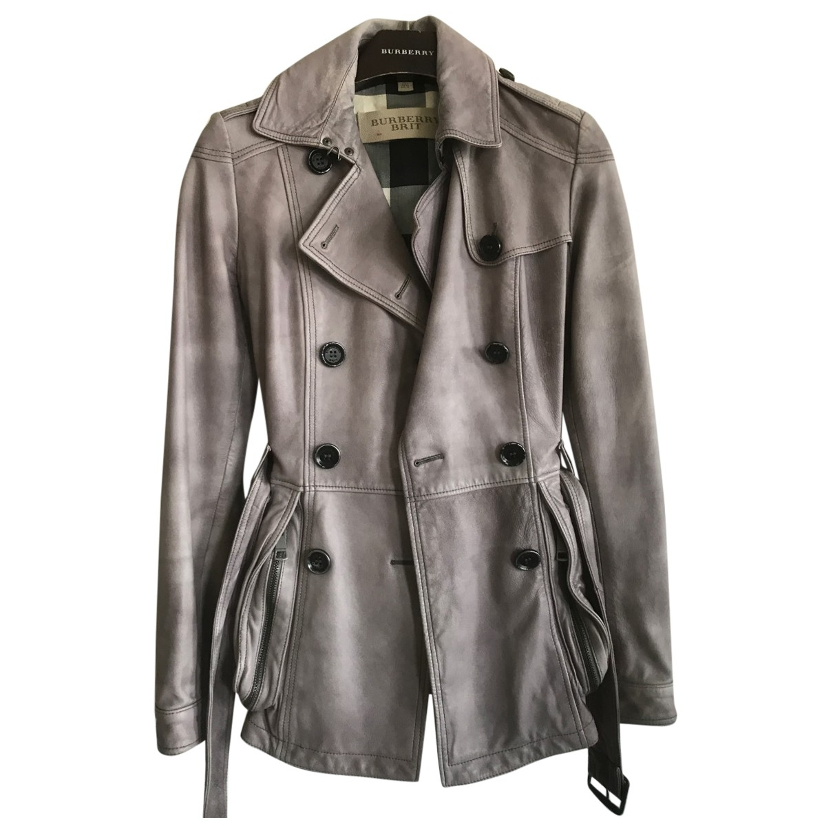 Burberry \N Grey Leather Trench coat for Women 8 UK