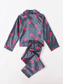 Girls Striped & Lip Print Satin PJ Set