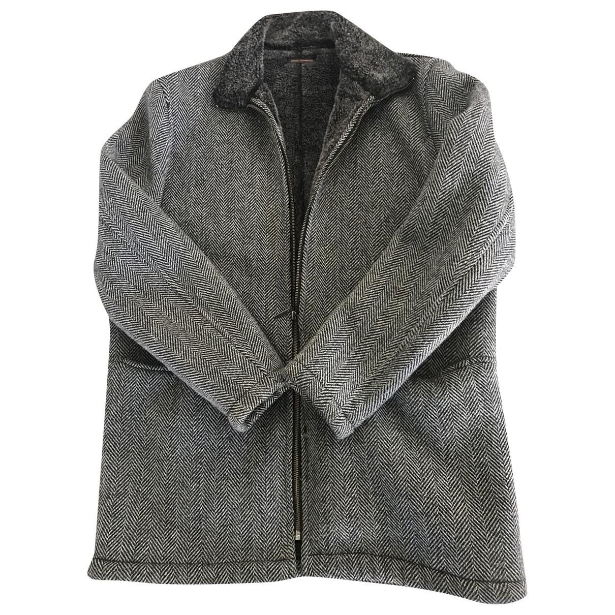 Adolfo Dominguez - Manteau   pour homme en laine - gris