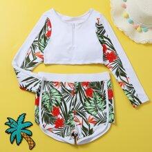 Bikini Badeanzug mit Blumen & tropischem Muster und Reissverschluss