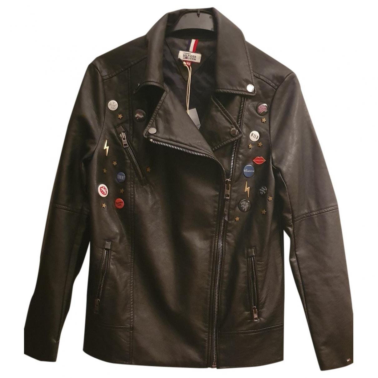 Tommy Hilfiger - Veste   pour femme en cuir - noir