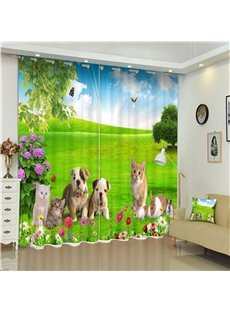 3D Dogs Cats and Rabbits on Grassland Printed Thick Polyester 2 Panels Custom Curtain