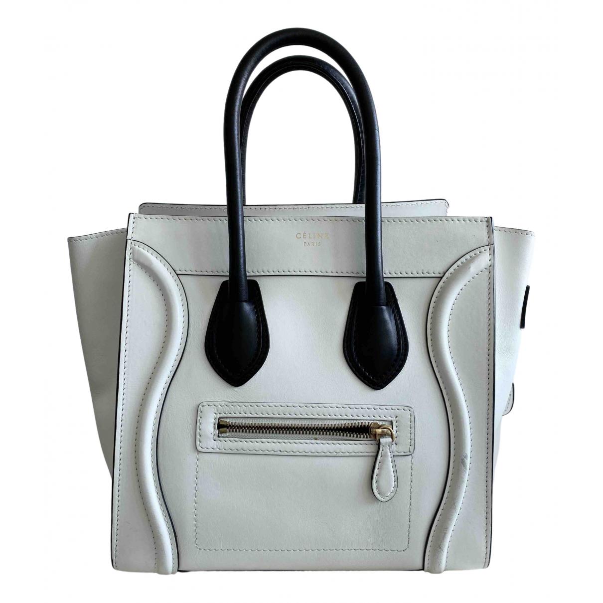 Celine Luggage Clutch in  Weiss Leder