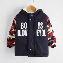 Toddler Boys Slogan & Camo Print Hooded Jacket