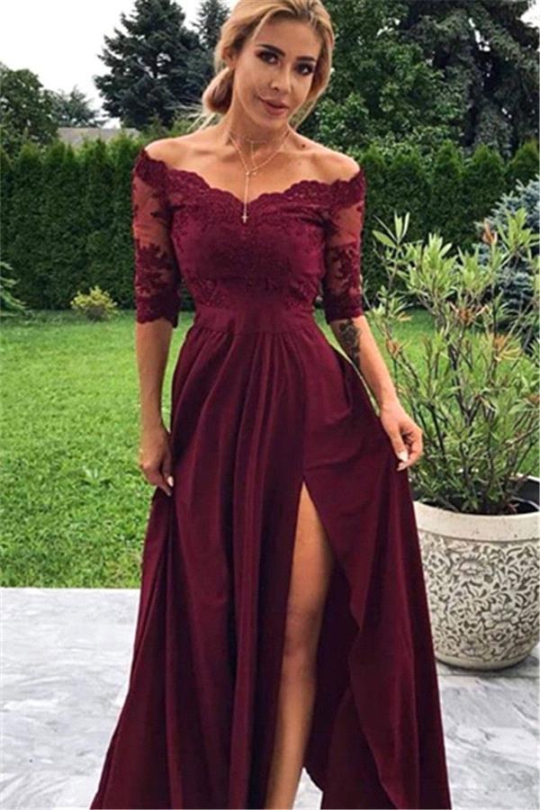 Burgunder Off The Shoulder Lace Halbarm Prom Kleider Mit Split | Guenstige Chiffon Party Kleider