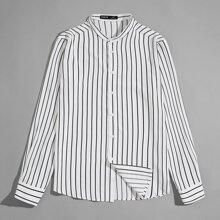 Shirt mit Stehkragen und Streifen