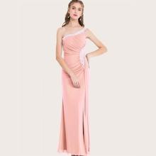 Angel-Fashions vestido de fiesta con diamante de imitacion drapeado con un hombro