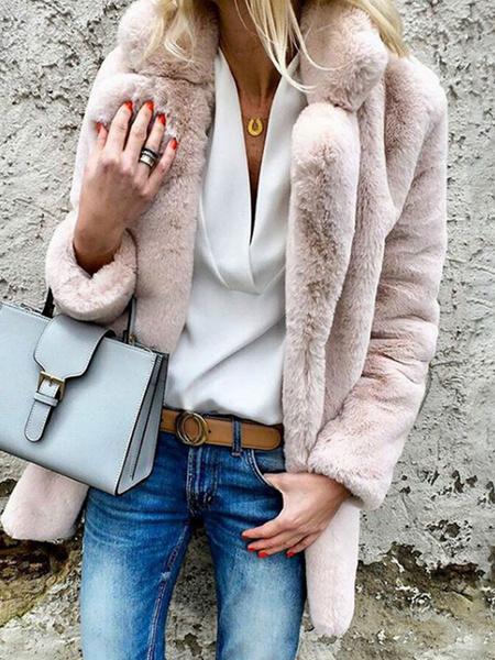 Milanoo Abrigos de piel sintetica Abrigo de invierno de manga larga con cuello vuelto rosa para mujer