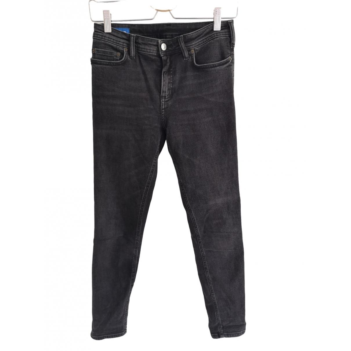 Acne Studios Blå Konst Black Cotton Jeans for Women 26 US