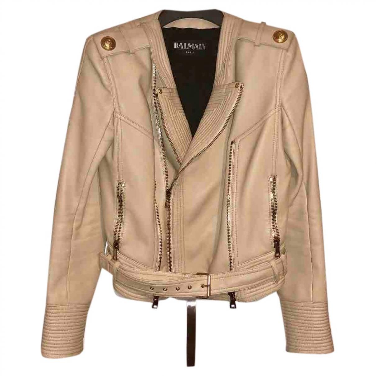 Balmain N Beige Leather jacket for Women 38 FR