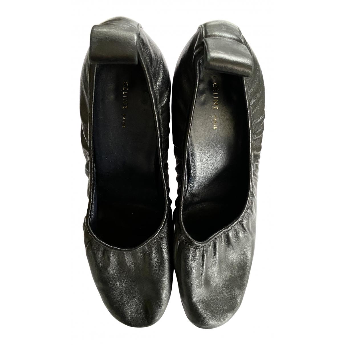 Celine Soft Ballerina Black Leather Heels for Women 38.5 EU