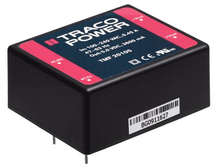 TRACOPOWER , 20W Embedded Switch Mode Power Supply (SMPS), 15V dc, Encapsulated, Medical Approved