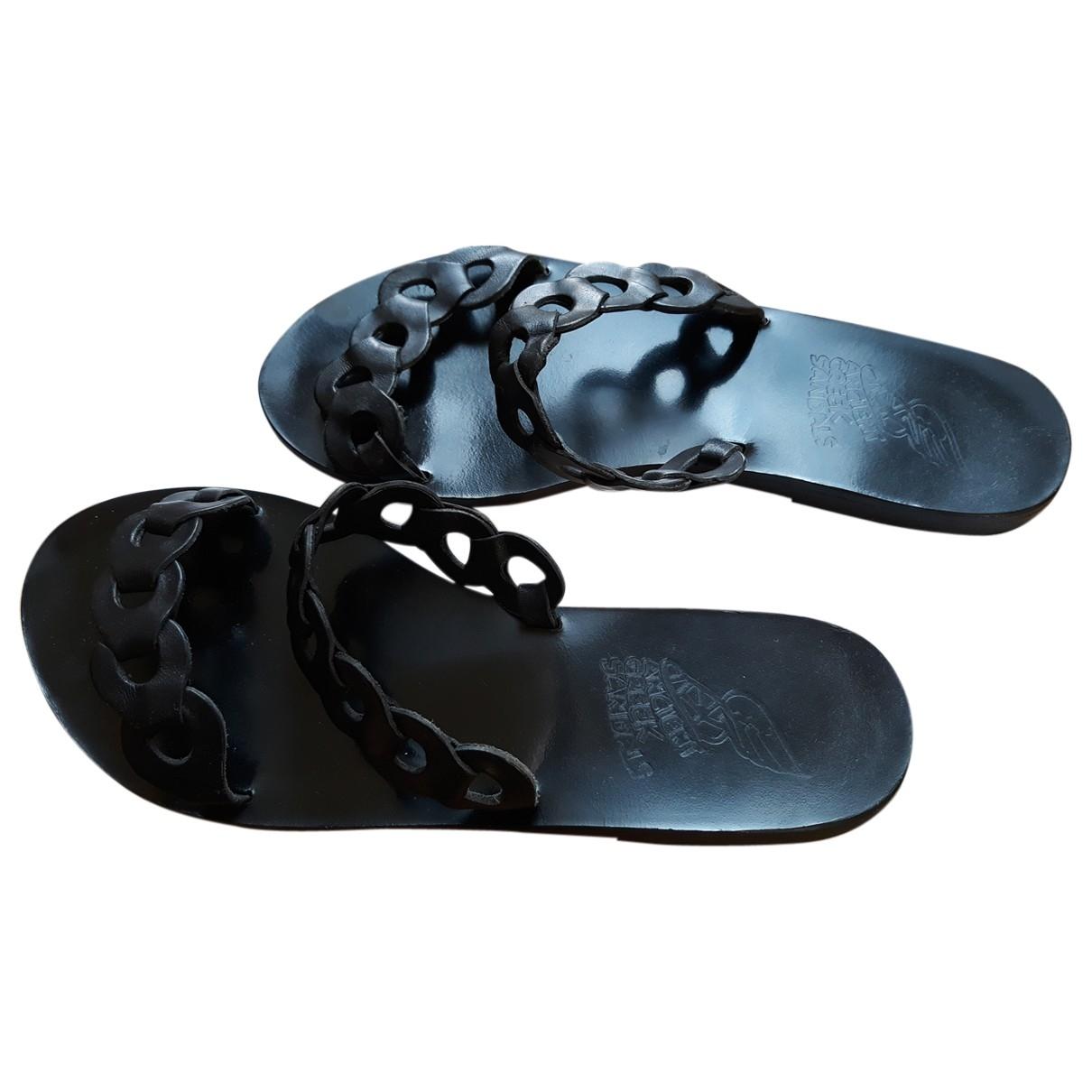 Ancient Greek Sandals \N Black Leather Sandals for Women 38 EU
