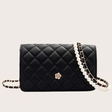Faux Pearl Decor Quilted Crossbody Bag