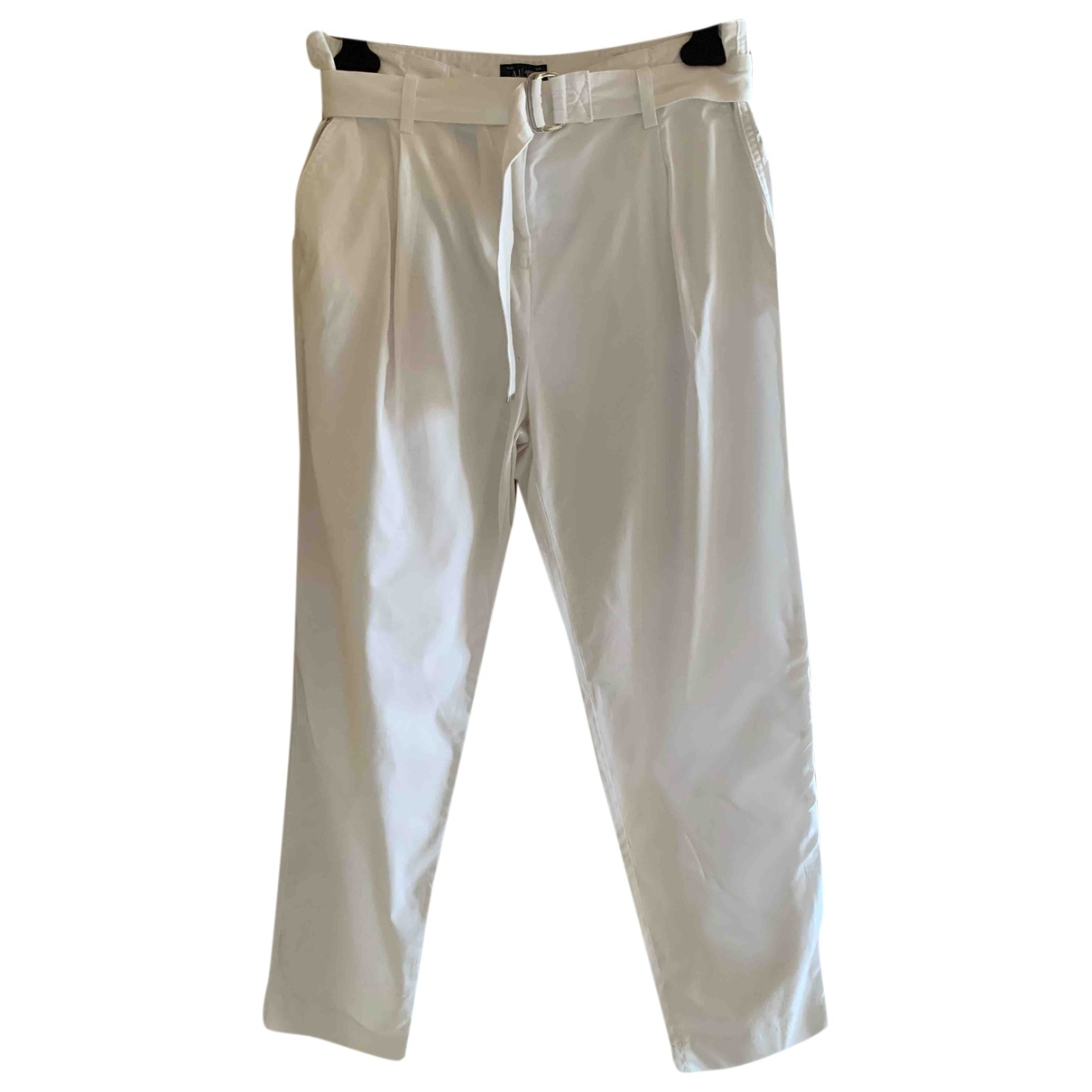 Armani Jeans \N White Cotton Trousers for Women 44 IT