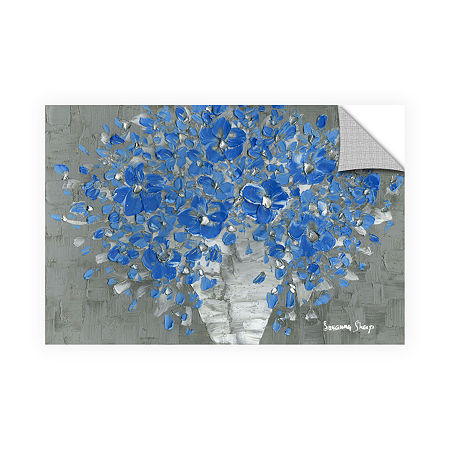 Blue Bouquet Removable Wall Decal, One Size , Blue