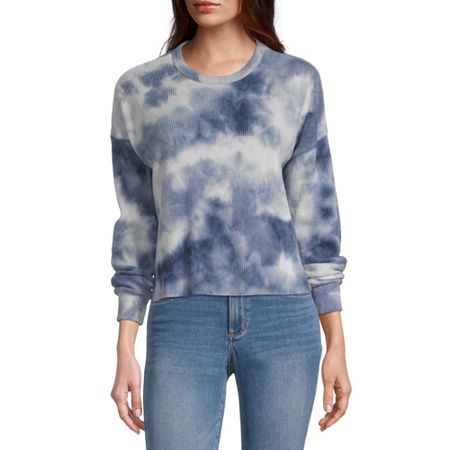 Arizona Juniors-Womens Crew Neck Long Sleeve Tie-dye T-Shirt, X-small , Blue