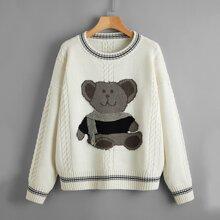 Cartoon Bear Pattern Cable Knit Sweater