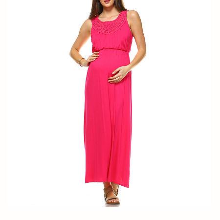 White Mark-Maternity Kadyn Sleeveless Maxi Dress, Medium , Pink