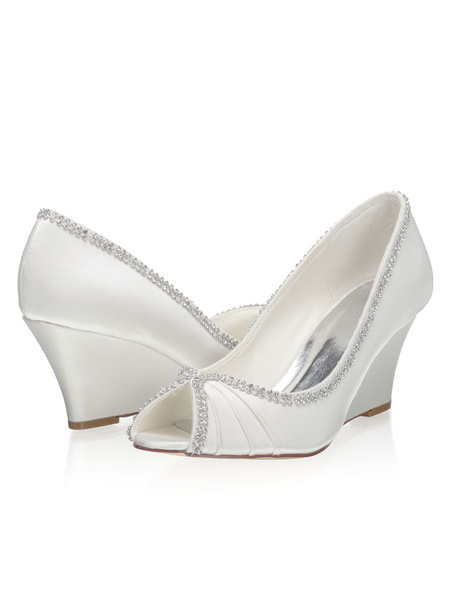 Milanoo Zapatos de novia de saten 7.5cm Zapatos de Fiesta Zapatos Marfil de tacon de cuña Zapatos de boda de punter Peep Toe con pedreria