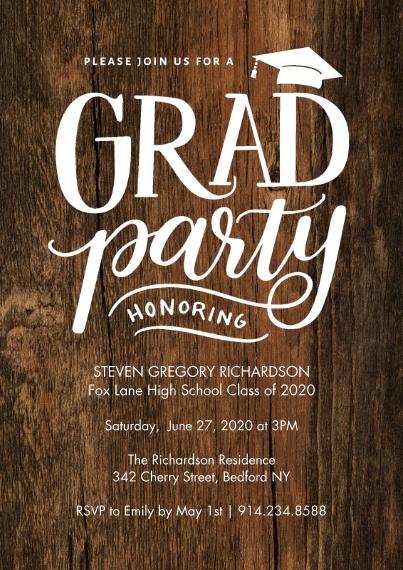 Graduation Invitations 5x7 Cards, Standard Cardstock 85lb, Card & Stationery -Grad Party Rustic