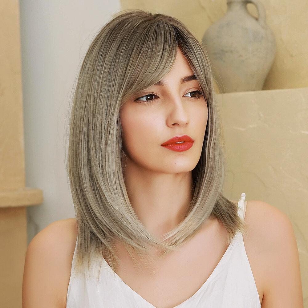 14 Inch Gray Gradient Light Gold Synthetic Fiber Wig Naturally Fluffy Medium Long Straight Hair
