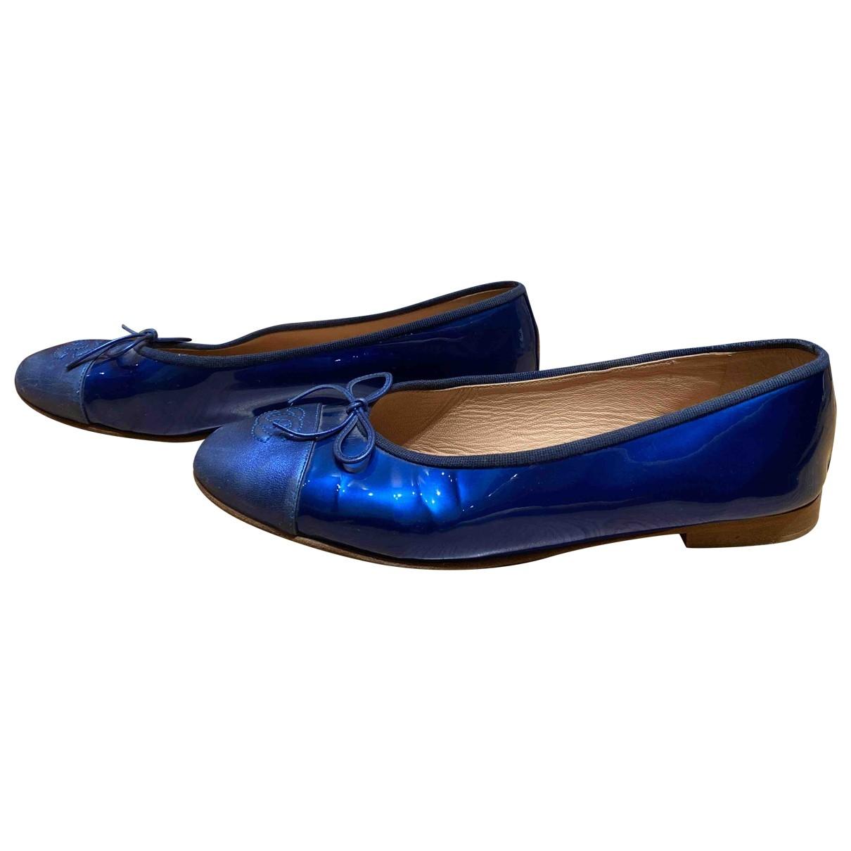 Chanel - Ballerines   pour femme en cuir verni - bleu