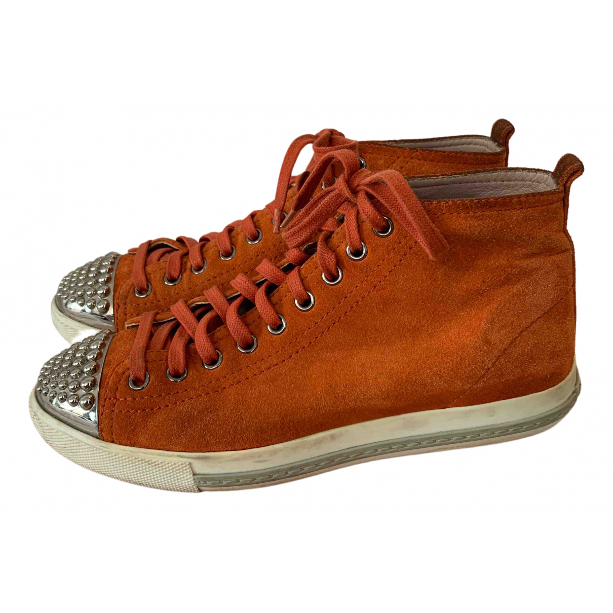 Miu Miu \N Orange Suede Trainers for Women 36 EU