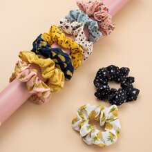 9pcs Fruit Pattern Scrunchie