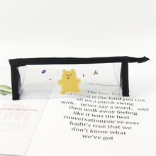 1pc Cartoon Bear Print Clear Pencil Bag