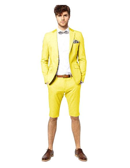 Yellow Single Breasted Suit Notch Lapel