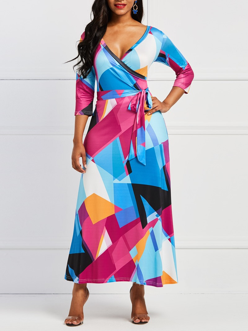 Ericdress Geometric Print V-Neck Women's Dress