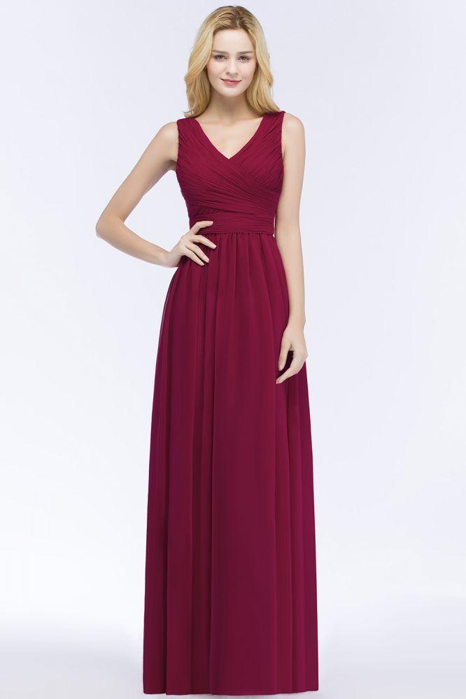 PATIENCE   A-line Floor Length V-neck Sleeveless Ruffled Chiffon Bridesmaid Dresses