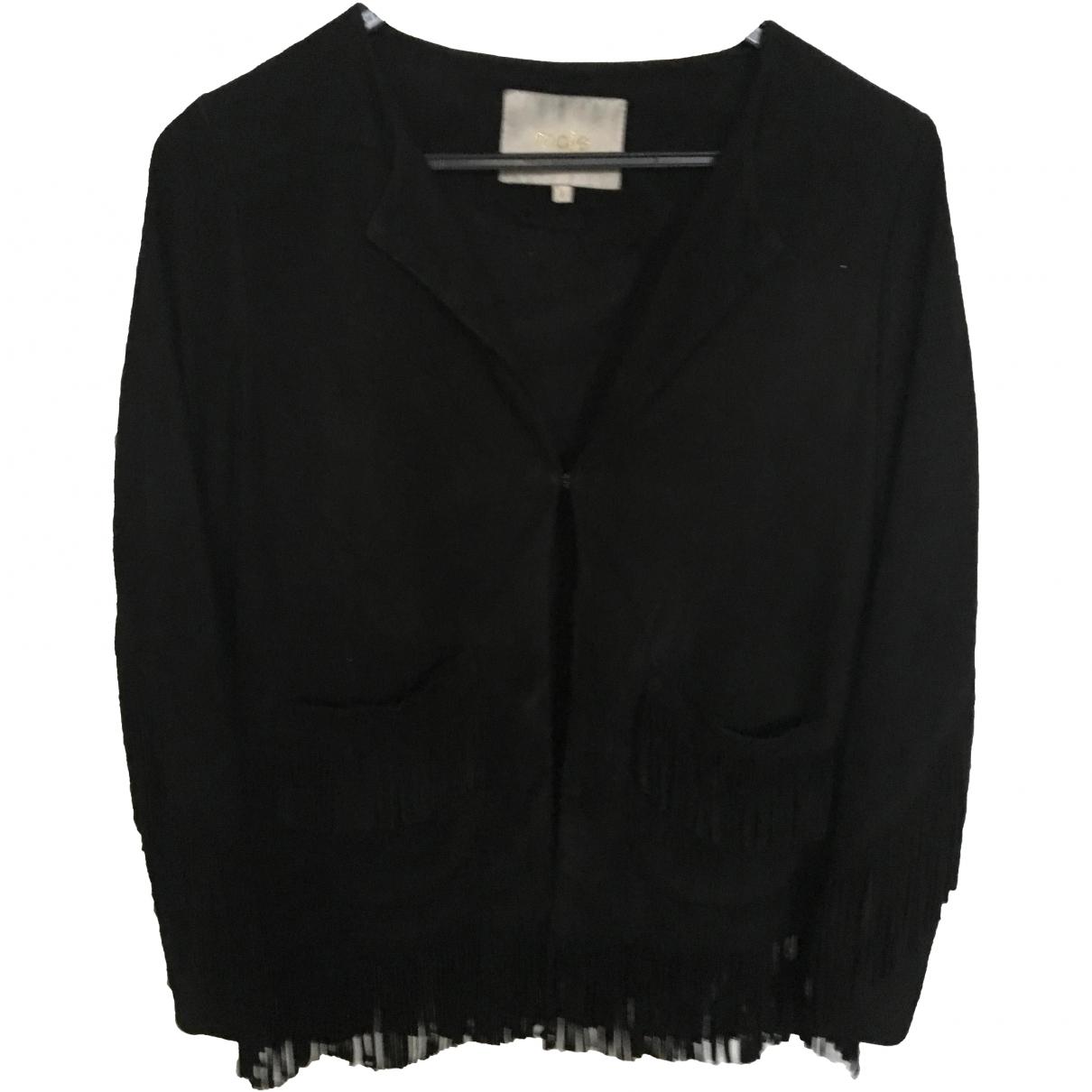 Maje \N Black Suede Leather jacket for Women 38 FR