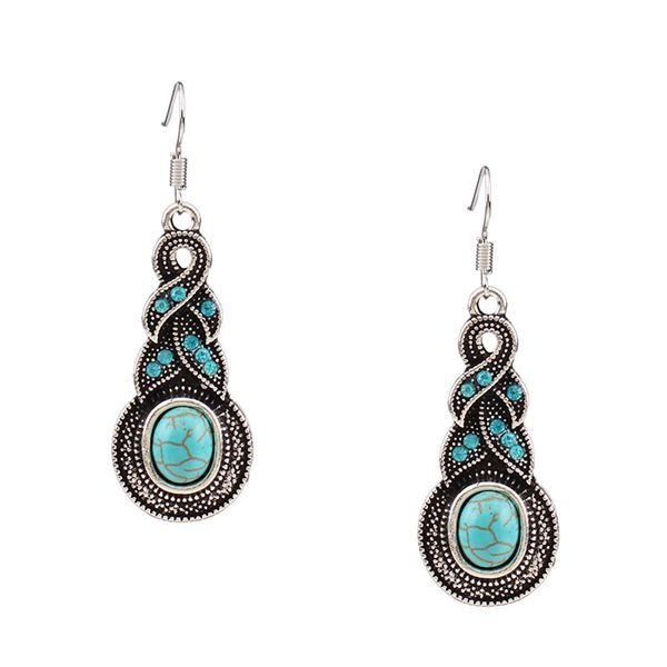 Vintage Turquoise Diamante Stone Pendant Earrings