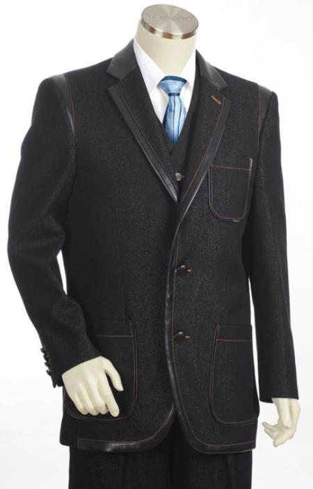 Mens 3Button Denim Cotton Fabric Two Tone Blazer/Suit/Tuxedo Black