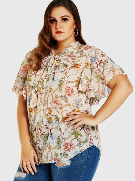 Yoins Plus Size Random Apricot Floral Print Self-tie Flared Sleeves Blouse