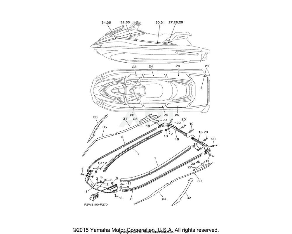 Yamaha OEM F2X-U89A8-00-00 ORNAMENT, STERN LH