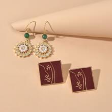 2 Paare Ohrringe mit Kunstperlen Dekor
